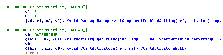 Figure 2. Code snippet to show how the malicious app hides itself from the application list