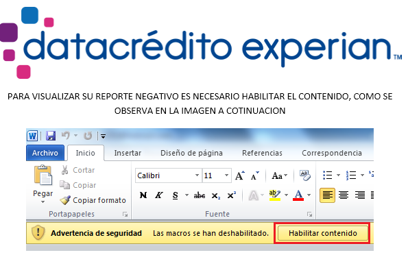 Figure 6. Delivery document purports to come from DataCrédito, a service that allows access to credit history and profile