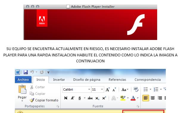 Figure 7. Delivery document with a generic Adobe Flash Player Installer