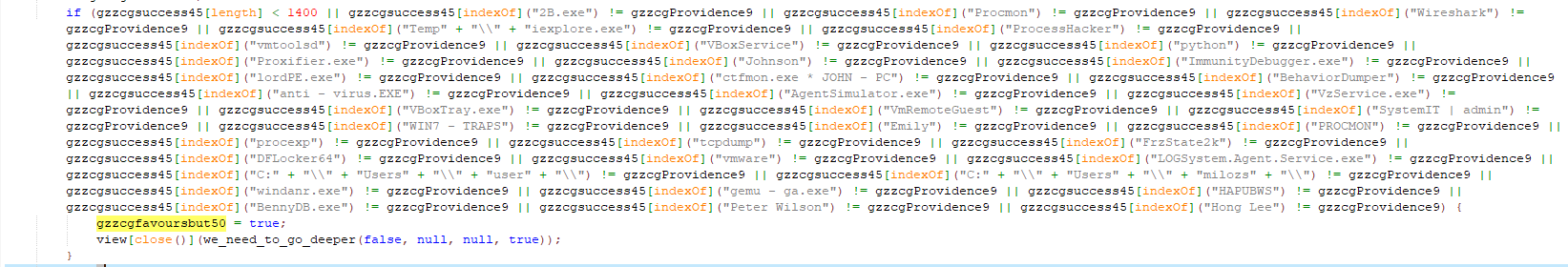 Figure 5. A snippet of checked processes and usernames