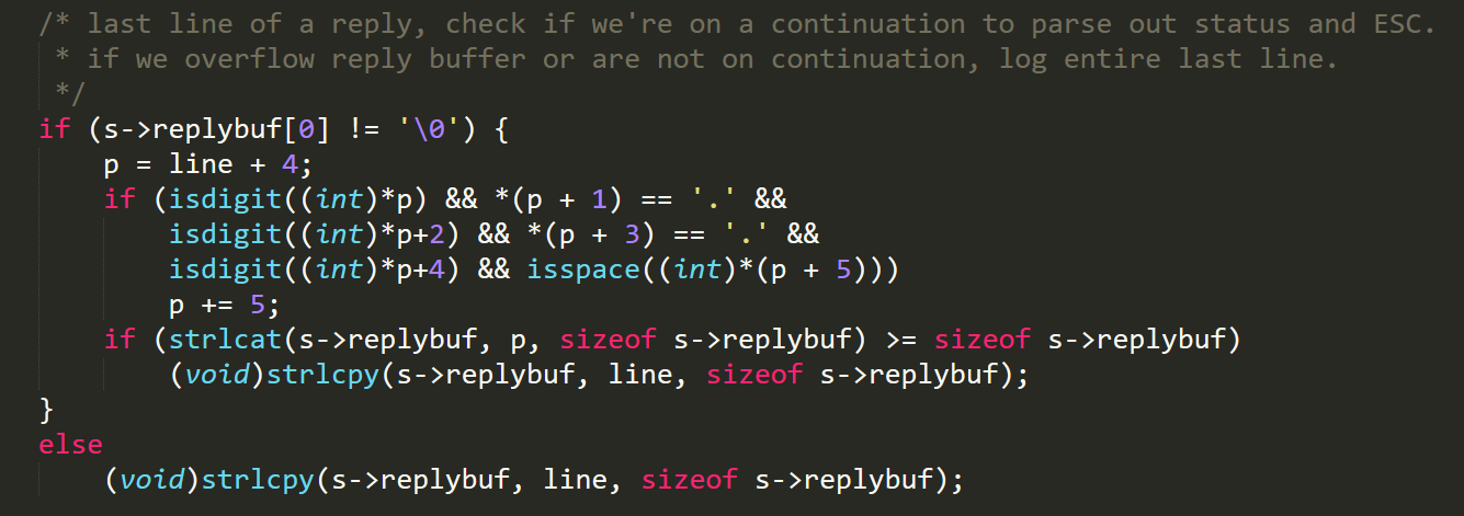 Figure 1. Vulnerable code inside mta_io function: If the final line of a reply is in an incorrect format, all the remaining content is also appended to the replybuf since p points to a location after the null byte