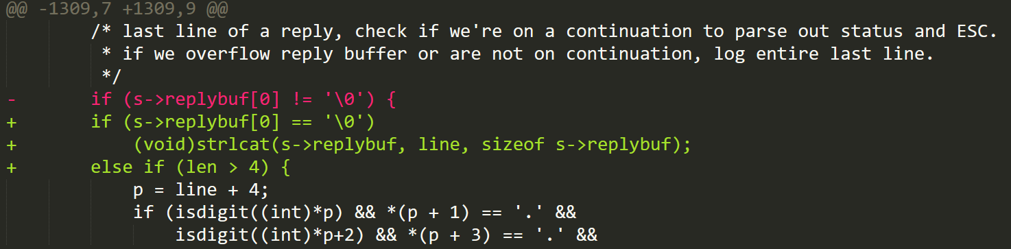 Figure 4. The mta_io function patch closes the out-of-bounds read by checking if the length of the string is at least 4 before collecting the message